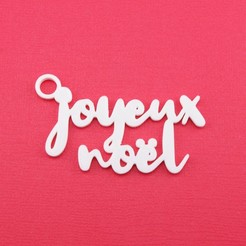 JoyeuxNoelGiftTagWithJumpringPhoto.jpg Download STL file Joyeux Noel - Christmas Gift Tag • 3D printing design, CBDesigns