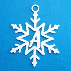 ASnowflakeInitalGiftTag3DPhoto.jpg Download STL file Letter A - Snowflake Initial Gift Tag • 3D printer object, CBDesigns