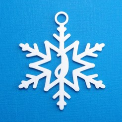 JSnowflakeInitialGiftTag3DPhoto.jpg Download STL file Letter J - Snowflake Initial Gift Tag Ornament • 3D printable template, CBDesigns