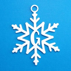 GSnowflakeInitialGiftTag3DPhoto.jpg Download STL file Letter G - Snowflake Initial Gift Tag Ornament • 3D print template, CBDesigns