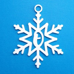 OSnowflakeInitialGiftTag3DPhoto.jpg Télécharger fichier STL Lettre O - Décoration de l'étiquette cadeau initiale du flocon de neige • Design pour imprimante 3D, CBDesigns