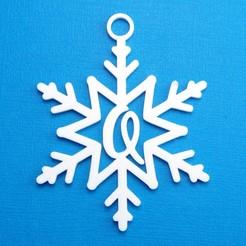 QSnowflakeInitialGiftTag3DPhoto.jpg Télécharger fichier STL Lettre Q - Décoration de l'étiquette cadeau initiale du flocon de neige • Design à imprimer en 3D, CBDesigns