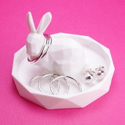 Download 3D printer designs Lowpoly Rabbit Geometric Ring Dish, CBDesigns