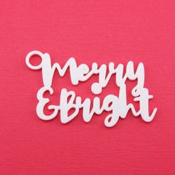 MerryAndBrightGiftTagWithJumpringPhoto.jpg Download STL file Merry & Bright - Christmas Gift Tag • 3D print template, CBDesigns