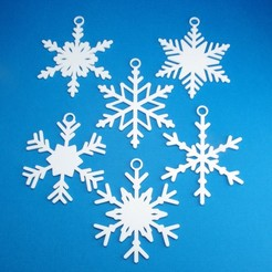 PackOfSixSnowflakeChristmasOrnamentCollectionGroup3DPrintPhoto.jpg Download STL file 6 Pack Of Snowflake Christmas Ornaments • Design to 3D print, CBDesigns