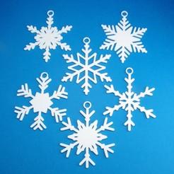 PackOfSixSnowflakeChristmasOrnamentCollectionGroup3DPrintPhoto.jpg Télécharger fichier STL Décorations de Noël - 6 paquets de flocons de neige • Design imprimable en 3D, CBDesigns