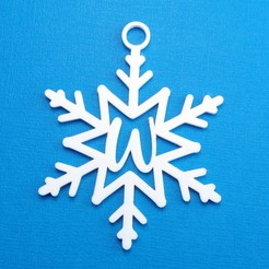 WSnowflakeInitialGiftTag3DImage.jpg Download STL file Letter W - Snowflake Initial Gift Tag Ornament • 3D printer design, CBDesigns