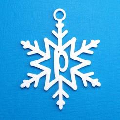 PSnowflakeInitialGiftTag.jpg Télécharger fichier STL Lettre P - Décoration de l'étiquette cadeau initiale du flocon de neige • Design imprimable en 3D, CBDesigns