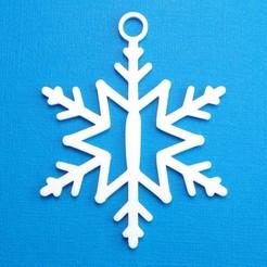 ISnowflakeInitialGiftTag3DImage.jpg Télécharger fichier STL Lettre I - Décoration de l'étiquette cadeau initiale du flocon de neige • Objet à imprimer en 3D, CBDesigns