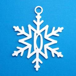 DSnowflakeInitialGiftTag3DPhoto.jpg Télécharger fichier STL Lettre D - Décoration de l'étiquette cadeau initiale du flocon de neige • Plan imprimable en 3D, CBDesigns