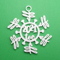 Eff2021TooCoronavirusSnowflakeOrnamentWithJumpring3DPrintPhoto.JPG Download STL file Eff 2021 Too - Coronavirus Snowflake Christmas Ornament • 3D print model, CBDesigns
