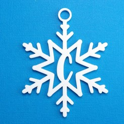 CSnowflakeInitialGiftTag3DPhoto.jpg Download STL file Letter C - Snowflake Initial Gift Tag • 3D printable object, CBDesigns
