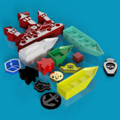 Download free 3D printer templates Tiny Epic Pirates Print and Play components, endofturn