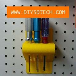 Rack_01.jpg Télécharger fichier STL gratuit Porte-outils Pegboard modifiable ! • Plan pour impression 3D, DIY3DTech