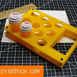 Download free 3D printer templates Pill Bottle Caddy / Rack!, DIY3DTech