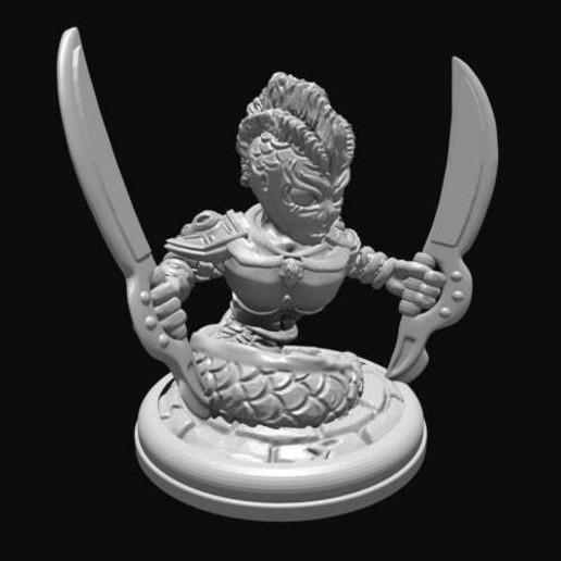container_naga-with-swords-28mm-3d-printing-285027.jpg Télécharger fichier STL gratuit Naga à l'épée • Plan imprimable en 3D, Mehdals