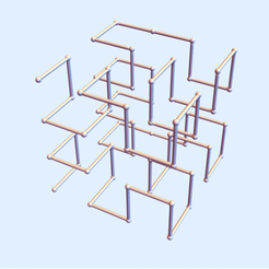 Hilbert Square 2.png Download STL file Hilbert Square Curve - Level 2 • 3D print object, dansmath