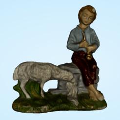 sheepandflute.png Télécharger fichier 3MF Garçons avec flûte et moutons • Plan imprimable en 3D, PimpMyPrint
