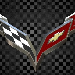 Download free 3D printer templates corvette logo, PolyArt