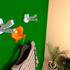 fff.png Download free STL file Crocodile coat hook for Kids • 3D printing model, lightshadowds