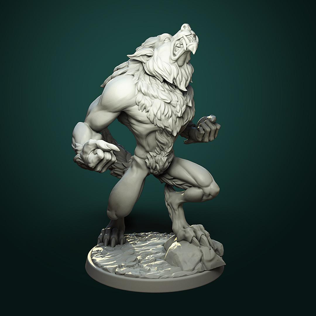 Furious Werewolf_V2_inst1.jpg Télécharger fichier STL Loup-garou furieux (2 variantes) • Modèle à imprimer en 3D, White_Werewolf_Tavern
