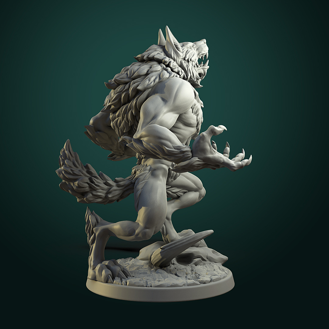 Furious Werewolf_V1_inst2.jpg Télécharger fichier STL Loup-garou furieux (2 variantes) • Modèle à imprimer en 3D, White_Werewolf_Tavern