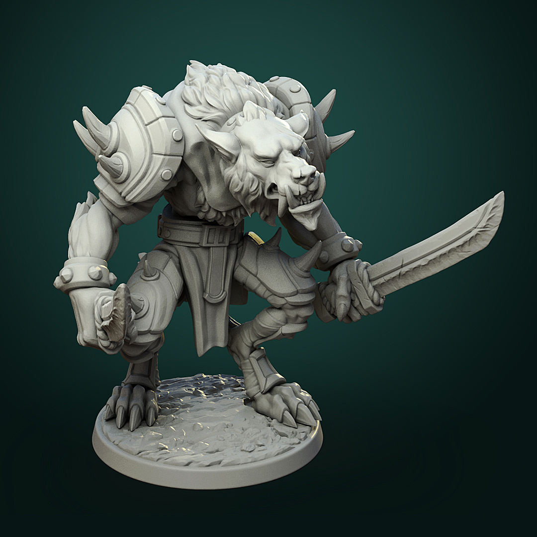 Werewolf_warrior2.jpg Télécharger fichier STL Olcan le Sage • Objet imprimable en 3D, White_Werewolf_Tavern