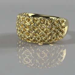 Télécharger fichier STL gratuit Anneau avec des coeurs • Design pour impression 3D, Hansa