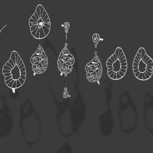Download free STL files Complete set of pendent, earring, bracelet and ring, Priti