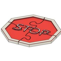 panneau STOP 30cm img2.jpg Télécharger fichier STL Panneau STOP puzzle 4 pièces • Plan à imprimer en 3D, 8XL