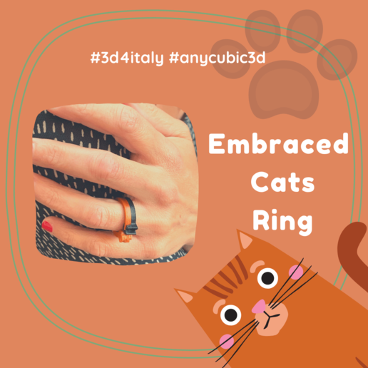 Embraced Cats Ring 2 (1).png Download free STL file Embraced Cats Ring - 3D4Italy - Anycubic3d • 3D print object, 3d4Italy