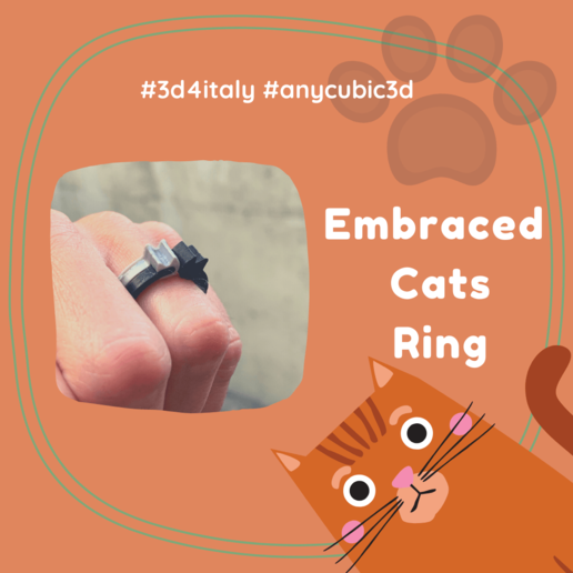 Embraced Cats Ring (1).png Download free STL file Embraced Cats Ring - 3D4Italy - Anycubic3d • 3D print object, 3d4Italy