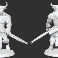 minotaur_archer.png Download free OBJ file Greek Minotaur Archer Miniature • 3D printer object, btorfe