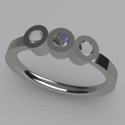 Télécharger modèle 3D gratuit Bague de commande avec 3 pierres précieuses - Taille 16, palopezlafuente