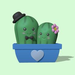 CactusCouple1.PNG Télécharger fichier STL Mignon couple de cactus - Saint-Valentin • Design imprimable en 3D, usagipan3dstudios