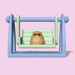 CatOnTheSwing1.PNG Download STL file Cat on the movable Swing to decorate and play • 3D printer template, usagipan3dstudios