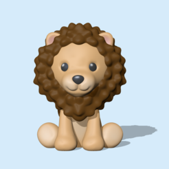 Sitting Lion (1).PNG Download STL file A cute Lion for decoration and play • 3D printable design, usagipan3dstudios