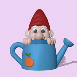 WateringCanGnome1.PNG Download STL file A cute WateringCan Gnome to decorate your garden • 3D print design, usagipan3dstudios