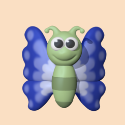 Butterfly1.PNG Download STL file Butterfly to decorate and play • 3D print model, usagipan3dstudios