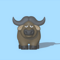 Buffalo1.png Download STL file A cute Buffalo to decorate and play • Model to 3D print, usagipan3dstudios