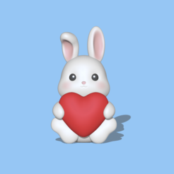 Bunny Heart1.PNG Download STL file A cute Bunny heart - Valentine's day • 3D printing object, usagipan3dstudios