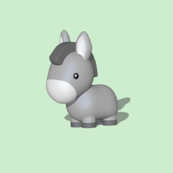 Cute Donkey1.PNG Download STL file Cute Donkey • 3D printer template, usagipan3dstudios