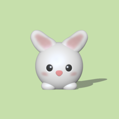 Round Bunny1.PNG Download STL file A cute round Bunny to decorate and play • Design to 3D print, usagipan3dstudios