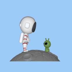 Astronaut and Alien1.PNG Download STL file A cute Astronaut and Alien to decorate and play • 3D printing model, usagipan3dstudios