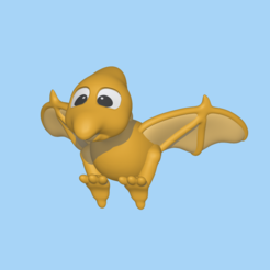 Pterodactyl1.PNG Download STL file A cute Pterodactyl to decorate and play • Model to 3D print, usagipan3dstudios