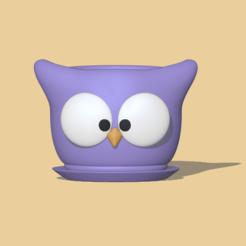 Owl Pot1.PNG Télécharger fichier STL Pot de hibou • Modèle à imprimer en 3D, usagipan3dstudios