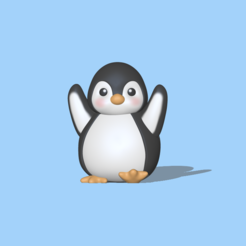 Happy Penguin (1).PNG Download STL file Happy Penguin • 3D printing template, usagipan3dstudios