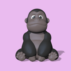 Gorilla1.PNG Download STL file A cute Gorilla to decorate and play • 3D print object, usagipan3dstudios