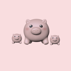 mother pig and babies.png Download STL file Pig Ball • Object to 3D print, usagipan3dstudios