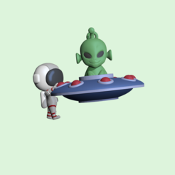 UFOAstronaut1.PNG Download STL file A cute UFO Astronaut to decorate and play • 3D printable design, usagipan3dstudios
